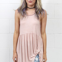 Smocked Mineral Wash Get Twisted Tank  {Apricot}