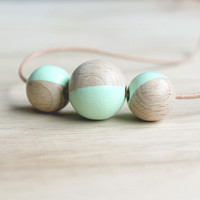 mint geometic necklace // wooden dipped necklace for girls, women - everyday jewelry, eco-friendly jewelry, pastel necklace