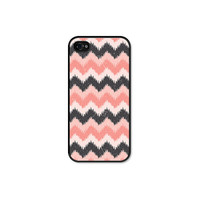 Ikat Chevron iPhone 5 Case - Plastic iPhone 5 Cover -  iPhone 5 Skin - Pink Grey Peach Coral Pastel