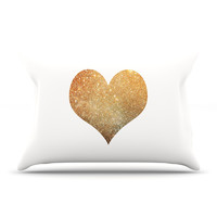 """Suzanne Carter """"Gold Heart"""" Glam Pillow Case"""