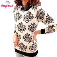 Women Knitted Casual Sweater Autumn 2016 New Winter Spring Fashion Brand Peter Pan Collar Floral Slim Tricotado Pullover WZY003