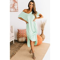 Nothing But Time V-Neck Maxi Dress (Dusty Mint)