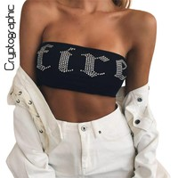 Cryptographic Rhinestone strapless tube tops women 2017 streetwear crop top sexy bustier camisole tank top cropped female tanks