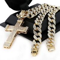 """Men Iced Out Large Cross Pendant 30"""" Heavy Iced Out Cuban Link Chain NN040G"""