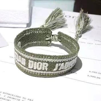 DIOR Fashion Woman Canvas Personality Bracelet Hand Catenary