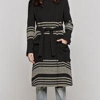 Band Of Outsiders Funnel Neck Coat In Black