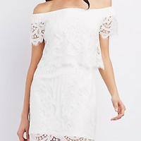 OFF-THE-SHOULDER LACE SHIFT DRESS