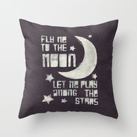 Fly Me To The Moon by Frank Sinatra Throw Pillow by Charlotte Horsfall