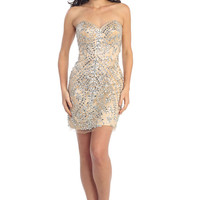 G1135 XL Nude Jeweled Short Cocktail Dress