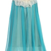Girls Turquoise Blue Chiffon Shift Dress w. Ivory Petal Trim 2T-14
