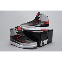 Air Jordan 2 Retro Aj2 Black/gray/red Basketball Sneaker Size Us 8 13