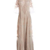 ModCloth Vintage Inspired Long Short Sleeves Maxi Airy in the Evening Dress