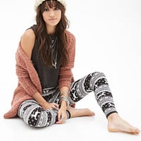 FOREVER 21 Fair Isle Deer Pattern Leggings Black/Grey
