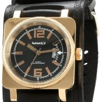 Nemesis Men's KIN062K Signature Stainless Steel Rose and gold Black Dial Leather Cuff Watch
