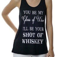 Glass of Wine Shot of Whiskey Racerback Tank Top