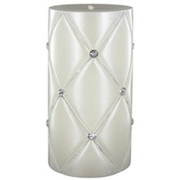 "3"" x 6"" White Diamond Pattern Pillar Candle 