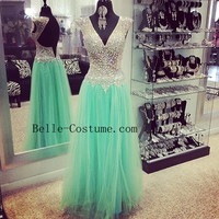 Open Back Prom Dresses, V Neck Beads Prom Dresses, V Neck Evening Dresses