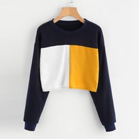 Women Winter Sweatshirts Stylish Geometric Patchwork Women Short Sexy Sweatshirt Causal Tops Sudaderas Mujer 2017