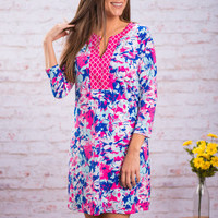 Can't Miss This Dress, Royal Blue-Fuchsia
