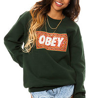 The Obey Magic Carpet Crewneck in Forest Green @TheCocaineGodmother