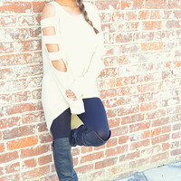 Dainty Details Sweater: Off White | Hope's