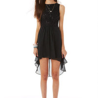 Black Lace High-Low Dress