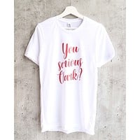 Distracted - You Serious Clark Unisex Graphic Tee in White