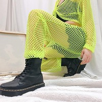 Loose Neon Green Mesh Fishnet Joggers
