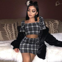 Women Fashion Multicolor Tartan Short Sleeve Square Neck Crop Tops Tight Package hip Skirt Casual Set Two-Piece