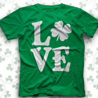LOVE Irish four leaf clover - #Funny St Patricks day #TShirt - #stpatricksday #stpatrick #stpaddysday