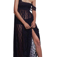 Black Maxi Lace Dress With Square Neck