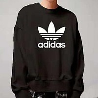ADIDAS classic chest large logo printed men's round neck sports sweater Black