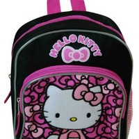 """Hello Kitty Lovely Bow 10"""" Mini Black and Pink Backpack"""