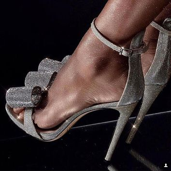 Rhinestone Sandals Silvery Butterfly Knot Women Fashion High Heels Ankle Buckles Ladies Sandals Party Shoes