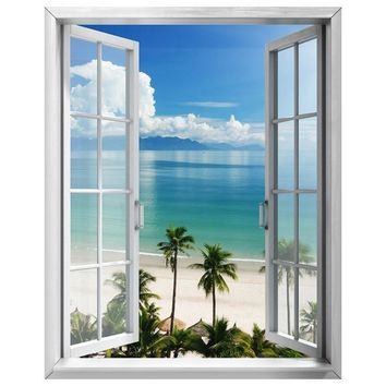 5D Diamond Painting Two Palm Trees Open Window View Kit