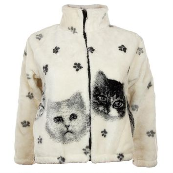 Kittens and Paw Prints Full Zip Sherpa Fleece Fitted Kids Jacket