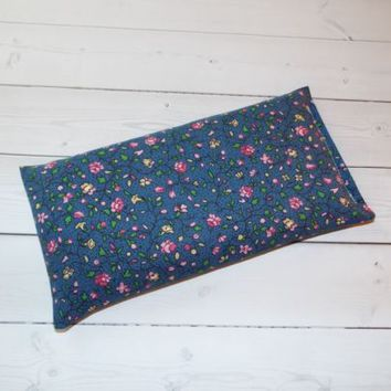 Aromatherapy Eye Pillow - Flax Seed & Lavender - tiny blue pink flowers -  yoga