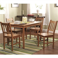 5 Piece Eco-Friendly Solid Bamboo Dining Set