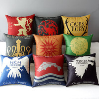 "18""  Square Game of Thrones Cotton Linen Cushion Cover Ikea Art Decorative Throw Pillow Home Sofa Car Chair Pillow Case HD332"