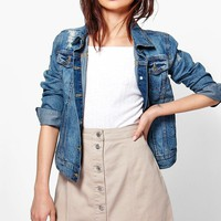 Jess Stone Button Through A Line Denim Skirt | Boohoo