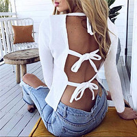 Sexy Backless Bandage Round Neck Long Sleeve T-Shirt Shirt Top Tee