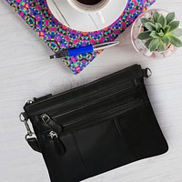 Small Glazed Leather Crossbody Handbag