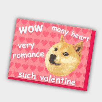 Funny Valentine's Day Card - Doge Such Heart Valentine - Doge Love Card - Internet Meme Card - Valentines Day Card - Funny Valentine