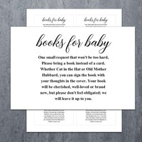 Baby Shower Bring a Book Instead of a Card | Book Request Baby Library Printable Baby Shower Invitation Insert Card (v32t7) Instant Download