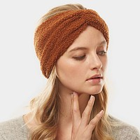 Brown Solid Sherpa Fleece Earmuff Headband