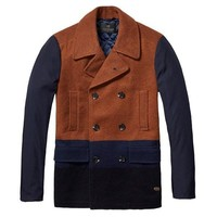 Brown Blue Color Block Jacket by Scotch & Soda
