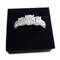 1ct Three Stone Cubic Zirconia Diamond Ring - Rose Gold and Silver