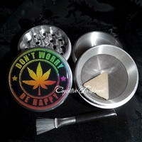 Dont Worry Be Happy Weed Leaf 4 Piece Herb Grinder Grinders Pollen Screen