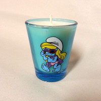 Smurf Soy Candle - Smurfette - Blue Shot Glass - CHOICE OF SCENT