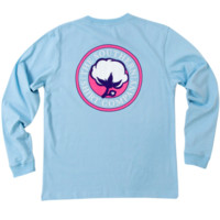 Southern Shirt Company Signature Logo Long Sleeve Tee- Placid Blue